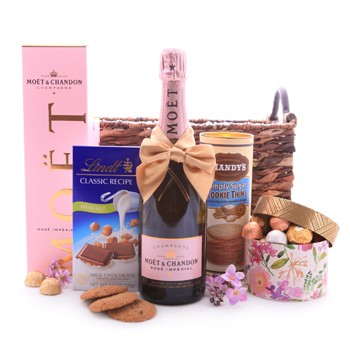 Moet and Chandon Rose Imperial Champagne and Sweet Treats Basket